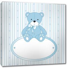 Obraz na płótnie canvas - Teddy bear for baby boy - baby arrival announcement