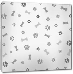 Obraz na płótnie canvas - Background with dog paw print and bone