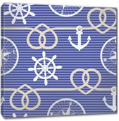 Obraz na płótnie canvas - Nautical seamless pattern