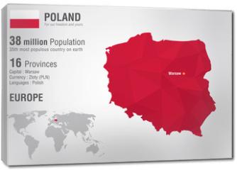Obraz na płótnie canvas - Poland world map with a pixel diamond texture.