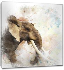 Obraz na płótnie canvas - Watercolor Image Of  Elephant