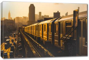 Obraz na płótnie canvas - Subway Train in New York at Sunset