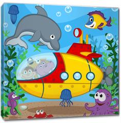 Obraz na płótnie canvas - animals on submarine - vector  illustration, eps