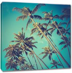 Obraz na płótnie canvas - Retro Diagonal Palm Trees In Hawaii