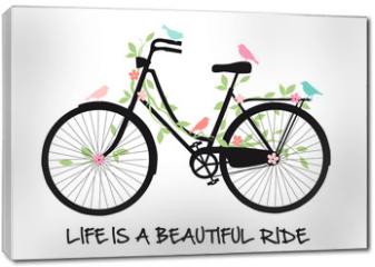 Obraz na płótnie canvas - Vintage bicycle with birds and flowers, vector