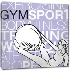 Obraz na płótnie canvas - Pilates illustration of woman stability ball gym fitness yoga