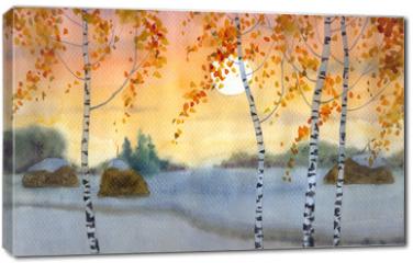 Obraz na płótnie canvas - Birches in snowy field