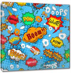 Obraz na płótnie canvas - Comic speech bubbles seamless pattern vector