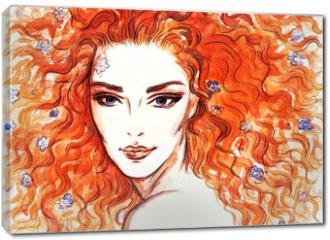 Obraz na płótnie canvas - woman portrait  .abstract  watercolor .fashion background