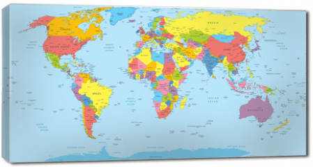 Obraz na płótnie canvas - World map with countries, country and city names