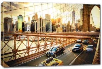 Obraz na płótnie canvas - New York City, Brooklyn Bridge skyline
