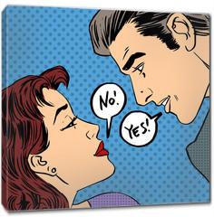 Obraz na płótnie canvas - dispute men and women no Yes pop art comics retro style Halftone