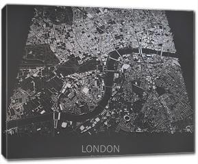 Obraz na płótnie canvas - Londra mappa, cartina centro, stilizzata, negativo