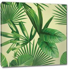 Obraz na płótnie canvas - tropical  palm leaves seamless background