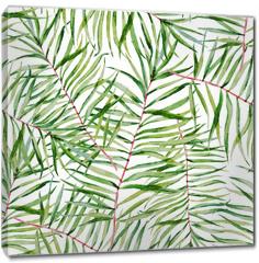 Obraz na płótnie canvas - Watercolor tropical leafs pattern