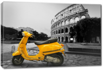 Obraz na płótnie canvas - Yellow vintage scooter on the background of Coliseum