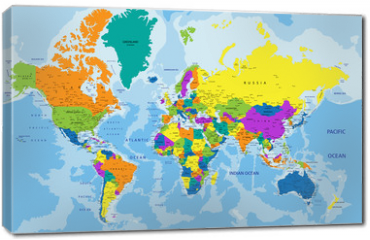 Obraz na płótnie canvas - Colorful World political map with clearly labeled, separated layers. Vector illustration.