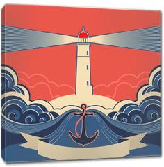 Obraz na płótnie canvas - Lighthouse label with anchor and blue sea waves