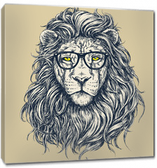 Obraz na płótnie canvas - Hipster lion vector illustration. Glasses separated.
