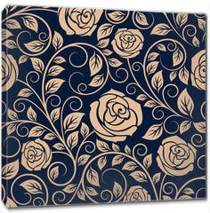 Obraz na płótnie canvas - Vintage roses flowers seamless pattern