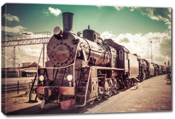 Obraz na płótnie canvas - Old steam locomotive, vintage train.