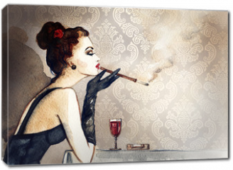 Obraz na płótnie canvas - Retro woman portrait with cigarette . watercolor illustration