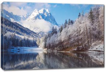 Obraz na płótnie canvas - Winter landscape with lake and reflection