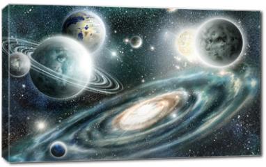 Obraz na płótnie canvas - Solar system and spiral galaxy