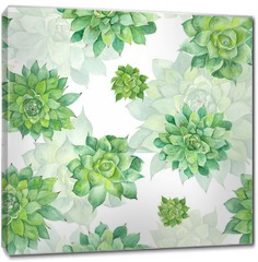 Obraz na płótnie canvas - Watercolor Succulent Pattern on White Background