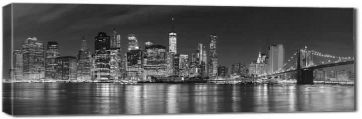 Obraz na płótnie canvas - Black and white New York City at night panoramic picture, USA.