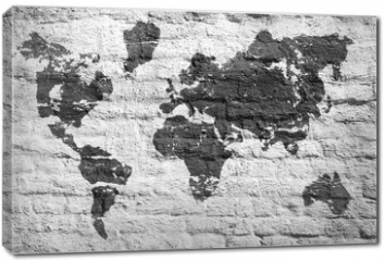 Obraz na płótnie canvas - White wall and a picture map of the world