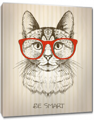 Obraz na płótnie canvas - Vintage graphic poster with hipster cat with red glasses.