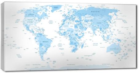 Obraz na płótnie canvas - Detailed World Map blue colors
