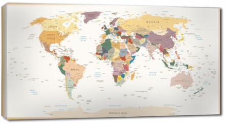 Obraz na płótnie canvas - Highly Detailed Political World Map Vintage Colors