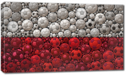 Obraz na płótnie canvas - National Flag of the Republic of Poland Soccer Balls Mosaic Illustration Design Concept