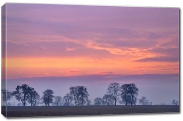 Obraz na płótnie canvas - After sunset colorful sky over fields