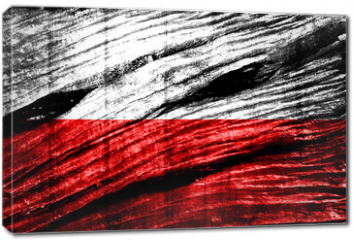 Obraz na płótnie canvas - Poland Flag painted on old wood texture