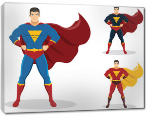 Obraz na płótnie canvas - Superhero standing with cape waving in the wind. On the right are 2 additional versions. No gradients used.