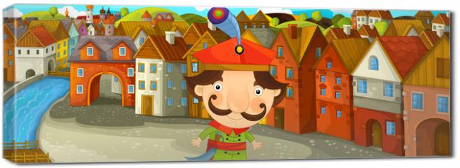 Obraz na płótnie canvas - Cartoon scene - noble man in the old town - illustration for the children