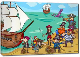 Obraz na płótnie canvas - pirates with ship cartoon