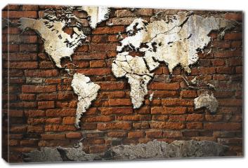 Obraz na płótnie canvas - Kamienna mapa świata