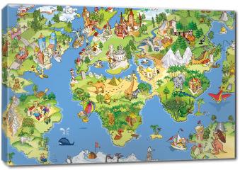 Obraz na płótnie canvas - Świetna i zabawna mapa świata
