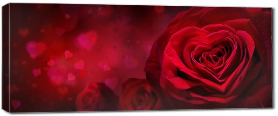 Obraz na płótnie canvas - Motyw walentynkowy z różami i kwiatami
