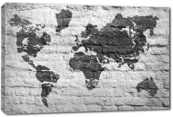Obraz na płótnie canvas - Biała ściana i zdjęcie mapy świata