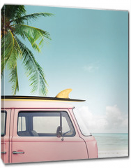 Obraz na płótnie canvas - Vintage car parked on the tropical beach (seaside) with a surfboard on the roof