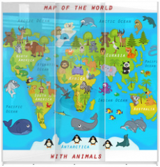Panel szklany do szafy przesuwnej -  map of the world with animals - vector illustration, eps