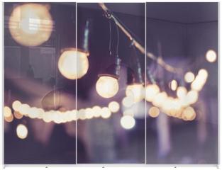Panel szklany do szafy przesuwnej - Lights decoration Event Festival outdoor Vintage tone