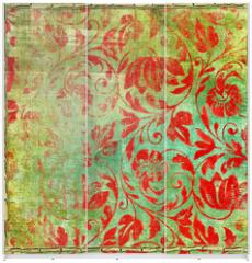 Panel szklany do szafy przesuwnej - retro floral patterns