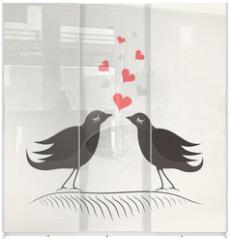 Panel szklany do szafy przesuwnej - Love a bird2
