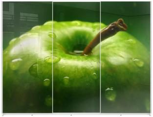 Panel szklany do szafy przesuwnej - green apple